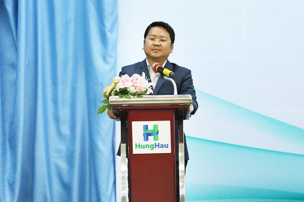 Ông Trần Văn Hậu – Chủ tịch HĐQT kiêm Tổng Giám đốc HungHau Holdings phát biểu tại buổi lễ